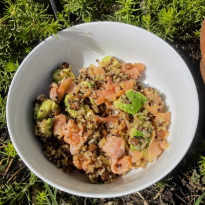 backpacking dinner ideas - smoked salmon bowl